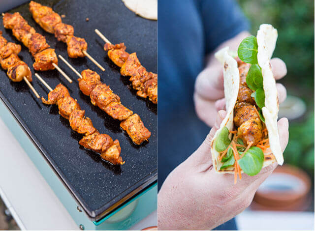 Chicken skewers with mexican spicerub and tortilla | insimoneskitchen.com