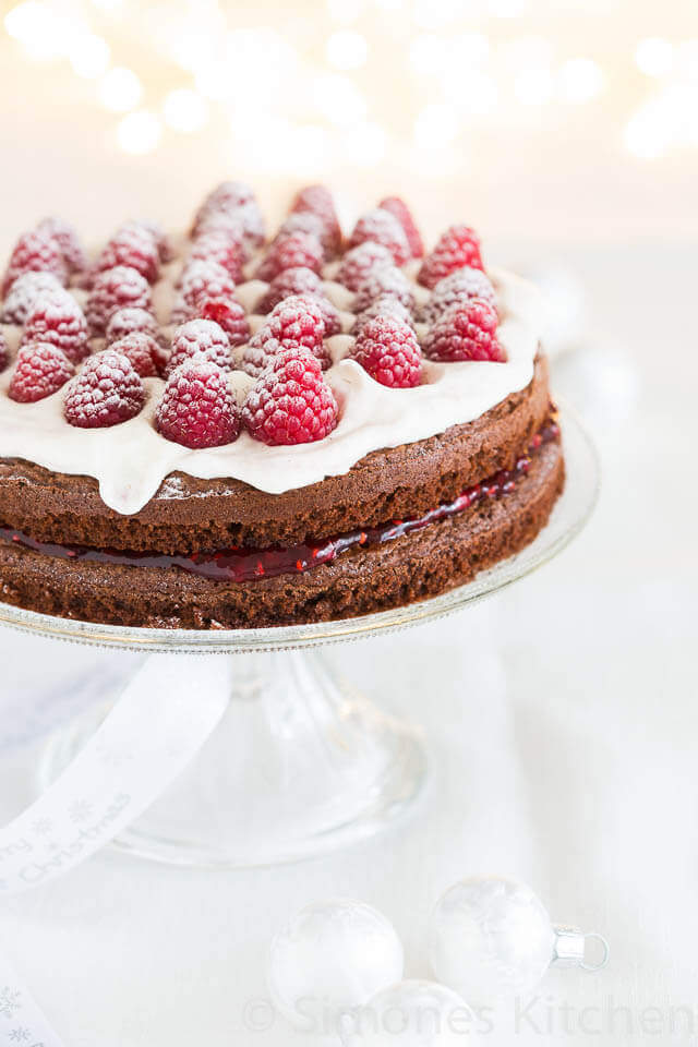 Double layered raspberry chocolate cake | insimoneskitchen.com