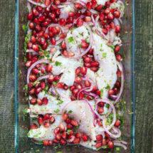 Ceviche van zeebaars met granaatappel | simoneskitchen.nl