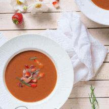 Aardbeien gazpacho met dragon en prosciutto | simoneskitchen.nl