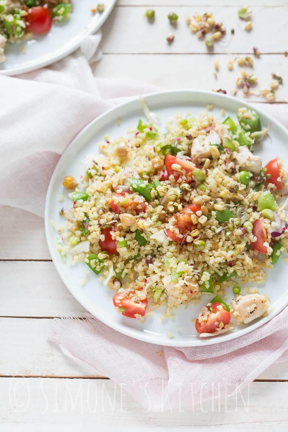 Bulgur salade met kip en sugarsnaps | simoneskitchen.nl