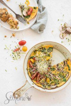 Spinazie champignons omelet | simoneskitchen.nl
