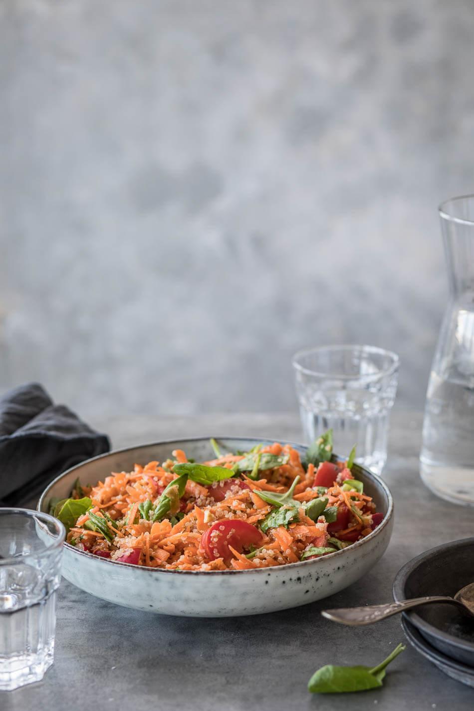 Spinazie-wortelsalade met quinoa   simoneskitchen.nl